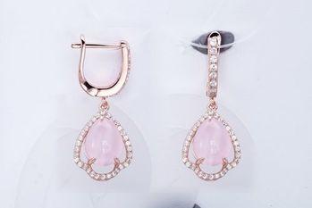 【CDE】花想容粉紅貓眼石(925銀耳環針式一對)