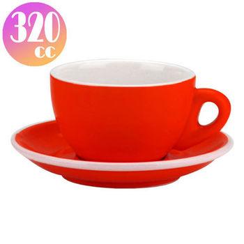 TIAMO 拿鐵杯盤組 5客 320cc 紅-HG0855R