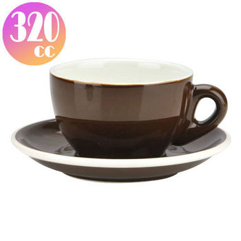 TIAMO 拿鐵杯盤組 5客 320cc 咖啡-HG0855BR
