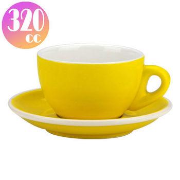 TIAMO 拿鐵杯盤組 5客 320cc 黃-HG0855Y
