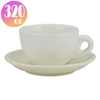 TIAMO 拿鐵杯盤組 5客 320cc 白-HG0855W