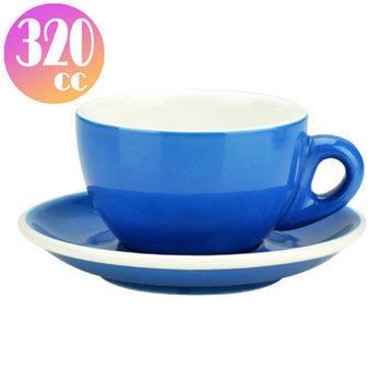 TIAMO 拿鐵杯盤組 5客 320cc 藍-HG0855B
