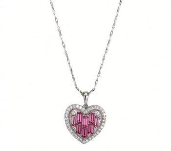【CDE】施華洛水晶元素粉紅愛心銀項鍊一條