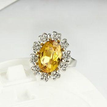 【CDE】施華洛水晶元素黃寶石戒指一個