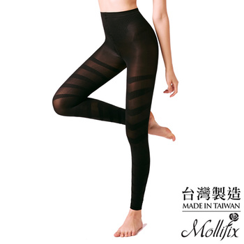 【Mollifix】280丹扭轉奇蹟 迴旋按摩9分褲 (黑)