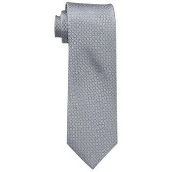 【Calvin Klein】2015男時尚Steel Micro銀色菱形圖案真絲領帶(預購)