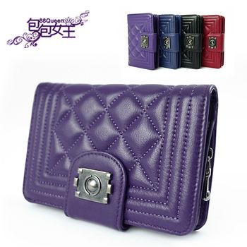 【88Queen❤包包女王】真皮★經典菱格羊皮中夾-紫色