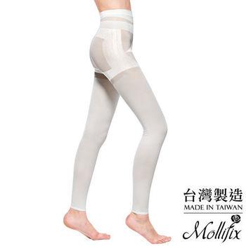 【Mollifix】3D極型拉提直紋9分塑身褲 (簡約白)