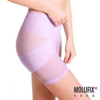 【Mollifix】X牛仔肚 收腰翹翹3分褲 (淺紫)