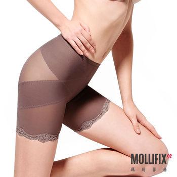 【Mollifix】X牛仔肚 收腰翹翹3分褲 (咖金)