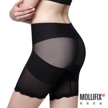 【Mollifix】X牛仔肚 收腰翹翹3分褲 (黑)