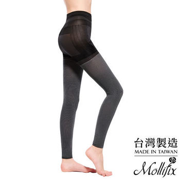 【Mollifix】3D極型拉提直紋9分塑身褲 (黑白節奏)