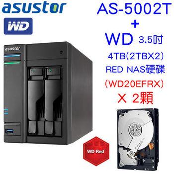 [ 組合品 ] ASUSTOR 華芸 AS-5002T 2Bay網路儲存伺服器 + WD 4TB(2T*2) RED NAS硬碟(WD20EFRX)