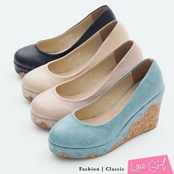 ☆Love Girl☆輕甜魅力-素面皮雕花滾邊楔型跟鞋
