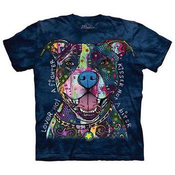 【摩達客】美國進口The Mountain 彩繪親親比特犬  純棉環保短袖T恤