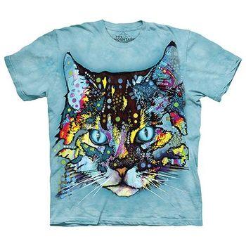 【摩達客】美國進口The Mountain 彩繪迷幻貓  純棉環保短袖T恤
