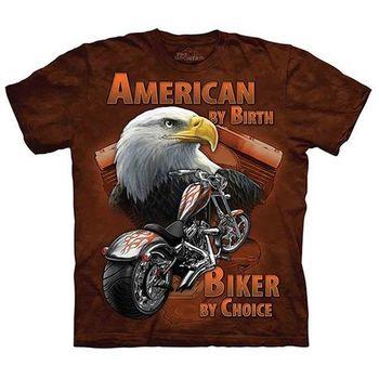 【摩達客】(預購)美國進口The Mountain Life戶外系列 重機老鷹 純棉環保短袖T恤