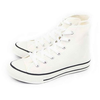 FUFA MIT 側拉鍊百搭帆布鞋(T40) - 白色