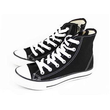 FUFA MIT 側拉鍊百搭帆布鞋(T40) - 黑色