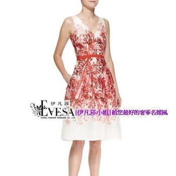 預購【伊凡莎小姐】宮廷氣質V領珊瑚紅印花公主洋裝