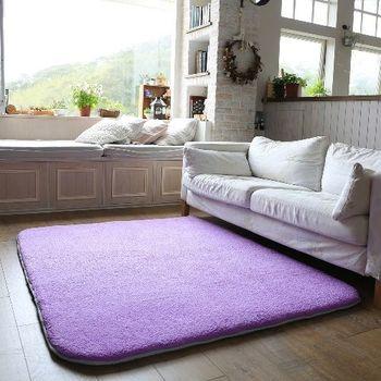 【HomeBeauty】舒壓羊羔絨地墊-紫色