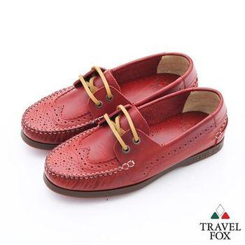 Travel Fox(女)英倫情牛津雕花三角楦帆船鞋 - 瑪莉紅