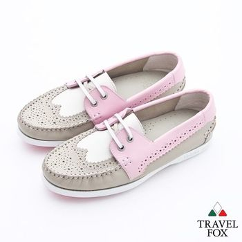 Travel Fox(女)英倫情牛津雕花三色牛皮帆船鞋 - 粉白棕