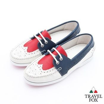 Travel Fox(女)英倫情牛津雕花三色牛皮帆船鞋 - 藍紅白