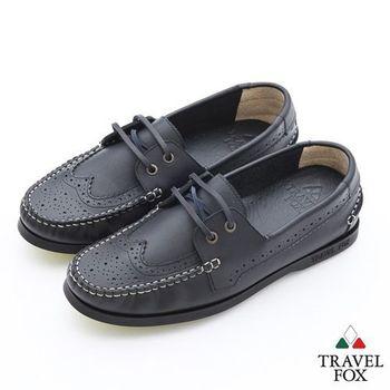 Travel Fox(男)Style英倫情牛津雕花三角楦帆船鞋 - 學士黑