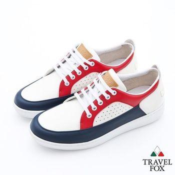 Travel Fox(男)球場風情撞色休閒板鞋 - 藍紅白