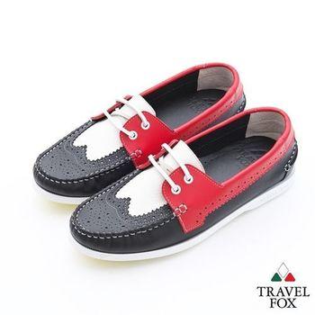 Travel Fox(男)Style英倫情牛津雕花三色牛皮帆船鞋 - 白紅黑