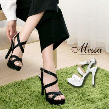 【Messa米莎專櫃女鞋】MIT 羅馬女神性感交錯繫帶側扣高跟涼鞋-兩色