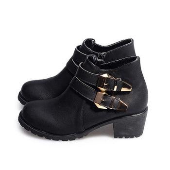 FUFA MIT 雙扣率性高跟裸靴(FL02) - 黑色