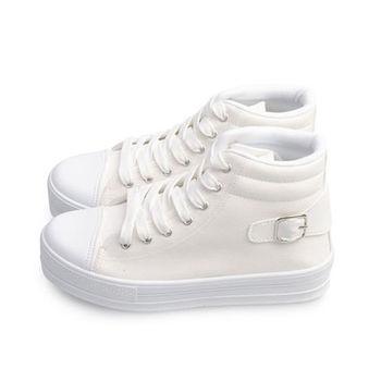FUFA MIT 圓頭帆布厚底鞋(J45) - 白色
