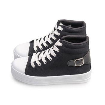FUFA MIT 圓頭帆布厚底鞋(J45) - 黑色