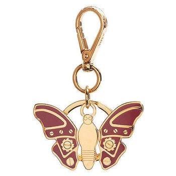 PRADA 經典TRICK METAL金屬機械蝴蝶造型吊牌鑰匙圈(蜜桃粉X金)