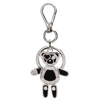PRADA 經典TRICK METAL金屬機械小熊造型吊牌鑰匙圈(黑X銀)