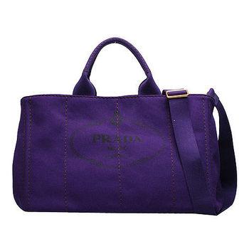 PRADA CANAPA系列浮雕LOGO帆布縫線造型手提/斜背包(紫)