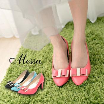 【Messa米莎專櫃女鞋】MIT 糖漾甜心雙拼色蝴蝶結內真皮中跟包鞋-三色