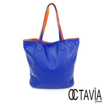 OCTAVIA - 軟心腸 水洗皮雙面雙色1+1 簡式購物包 - 愛藍愛桔