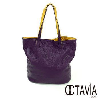 OCTAVIA - 軟心腸 水洗皮雙面雙色1+1 簡式購物包 - 愛紫愛黃