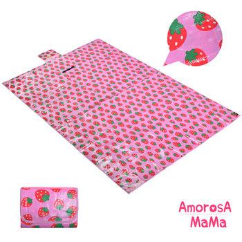 【Amorosa Mama】折疊手提式戶外野餐墊/遊戲墊/地墊 (草莓)