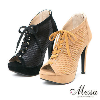 【Messa米莎專櫃女鞋】MIT 派對女孩皮紋綁帶內真皮魚口高跟踝靴-兩色