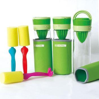 【EG Home 宜居家】多功能玻璃榨汁 泡茶 磨汁杯500ml(附杯套、清潔刷) 3入組