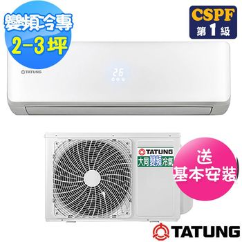 【TATUNG大同】柔光系列2-4坪變頻冷專R-232DDHN+FT-232DDHN(含基本安裝)