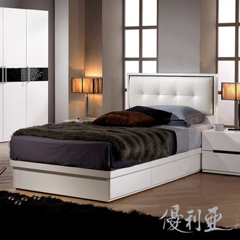 【優利亞-白色格調】單人3.5尺抽屜式床組