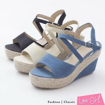 ☆Love Girl☆輕日系交叉環裸帆布魚口楔型涼鞋
