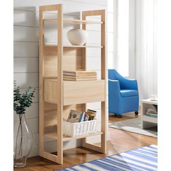 【咱的厝】DIY附抽屜挑高四層架 書櫃/展示櫃/隔間櫃(淺橡色)
