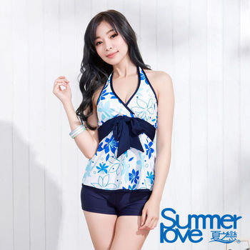 【SUMMERLOVE 夏之纞】沁涼藍天長版二件式泳衣S15756