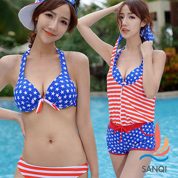 SANQI三奇 夏日美式 三件式鋼圈比基尼泳衣(藍M~XL)